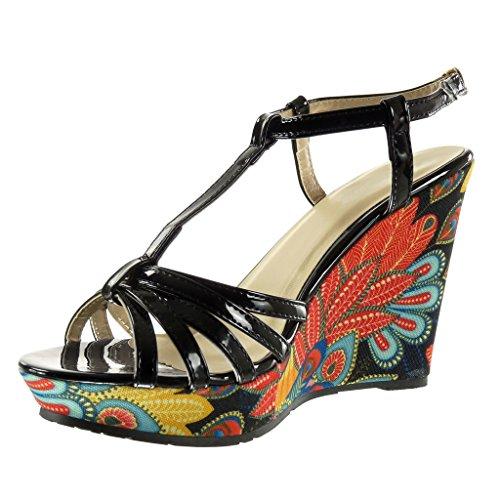 Angkorly - Chaussure Mode Sandale Mule plateforme salomés femme brodé fantaisie multi-bride Talon compensé plateforme 10.5 CM - Noir