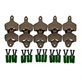 "SuperLi Set of 10″Open Here"" Cast Iron Wall Mount Bottle Opener Vintage Look Replica"
