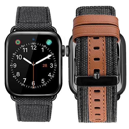 Bands Compatible for Apple Watch 44mm 42mm Men Women Fancy Canvas Fabric Style Strap Replacement Band Wristband - Genuine Leather Band with Black Metal Clasp Compatible with Apple Watch Series 4 3 2 1