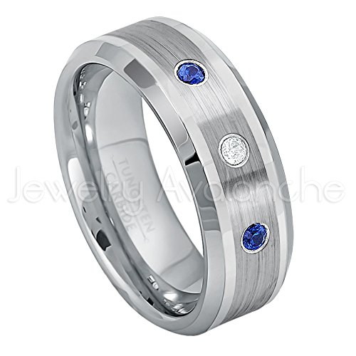 0.21ctw Diamond & Blue Sapphire 3-Stone Tungsten Ring - 8mm Comfort Fit Tungsten Carbide Wedding Ring - WDSPs13 by Jewelry Avalanche (Image #1)