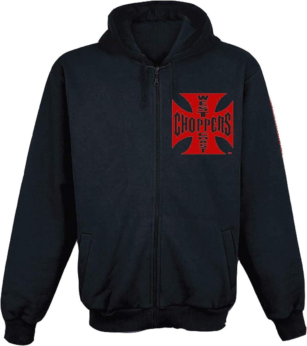 West Coast Choppers Men Zip Hoodie Red OG Cross 51e401cGBIL