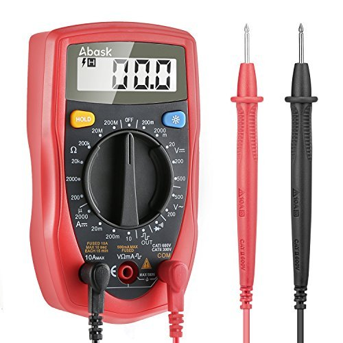 Digital Multimeter, Abask Professional Digital Multimeter Auto-ranging Measuring Volt Amp Ohm Meter with Diode and Continuity Test Scanners Home Use Electronic Hand Tools with Backlight LCD Display by Abask