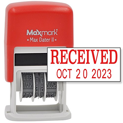 MaxMark Self-Inking Rubber Date Office Stamp with RECEIVED Phrase & Date - RED INK (Max Dater II), 12-Year Band (Phrase Date Stamp)