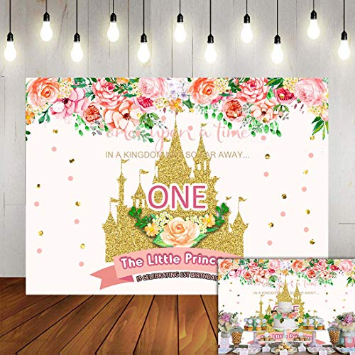 Fanghui 7x5FT Baby Girl 1st Birthday Backdrop The Little Princess is Celebrating 1st Birthday Photography Backdrop Floral Gold Sequin Castle Fairy Tale Theme Party Decoration Photo Booth Props