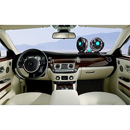 Ventilador de Refrigeraci/ón para Coche 12V Velocidad Ajustable 360 Grado Giratorio Silencioso Ventilaci/ón Fan MoTree para Coche Furgoneta SUV