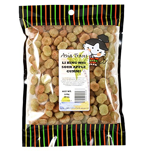Li Hing Mui Sour Apple 13 Ounce - Packed fresh in Hawaii. Sour Apple Gummy Candy sprinkled with Li Hing Mui Plum Plum powder.