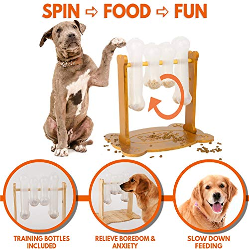 Interactive Dog Food Puzzle Toy - Treat Dispensing Dogs Slow Feeder - Indoor Boredom Stress Relief Smart Dog Game for Smart Training - Refillable Tricky IQ Feeding Game