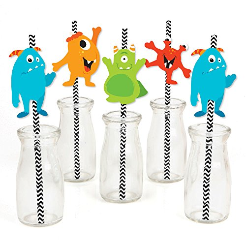 Monster Bash - Paper Straw Decor - Little Monster Birthday Party or Baby Shower Striped Decorative Straws - Set of -