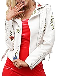 BerryGo Women's Floral Embroidered Faux Leather Moto Jacket Coat
