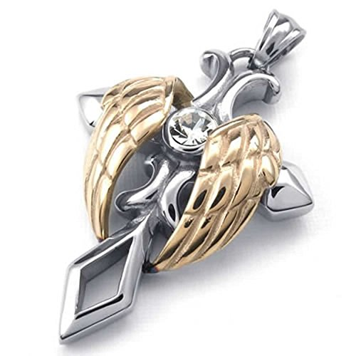 ANAZOZ Stainless Steel Mens Womens Angel Wing Cross Pendant Necklace 18-26