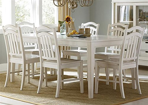 Summerhill 5 Piece Rectangular Table Set in Rubbed Linen White Finish