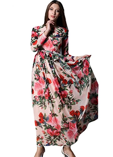 Print Long Evening Bodycon Chiffon Women Long Coolred Dress Floral Sleeve As Picture qw40YT8Sxn