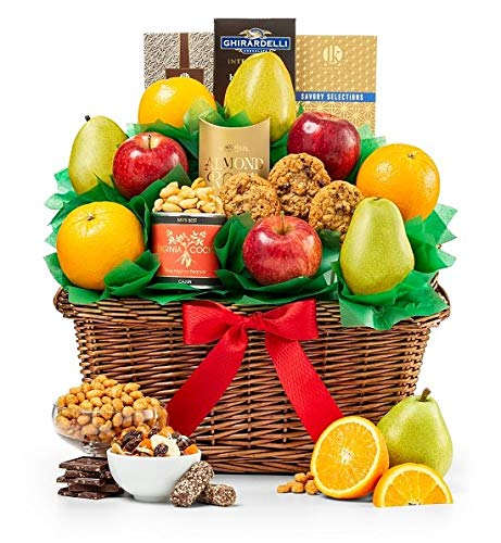 GiftTree Five Star Fruit Gift Basket | Fresh Fruit Includes Pears, Apples and Oranges | Enjoy Almond Roca, Assorted Nuts, Ghirardelli Chocolate & More | Great for Birthdays, Holidays, or Any Occasion