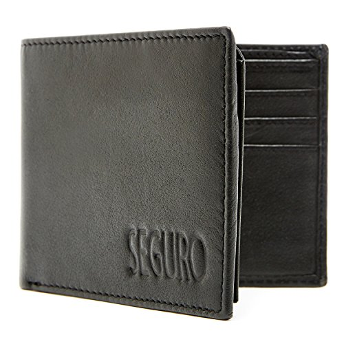 Access Denied Men's RFID Blocking Bi-Fold Leather Wallet, Black (Leather Black Wallet)
