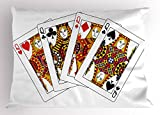 Ambesonne Queen Pillow Sham, Queens Poker Set Faces Hearts and Spades Gambling Theme Symbols Playing Cards, Decorative Standard Size Printed Pillowcase, 26 X 20 inches, Black Red Yellow