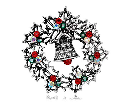 Asremit 1PCS Christmas Elk Santa Snowflake Cane Cute Spilla Decorativo Bell Circle( Anello a Campana Argento )