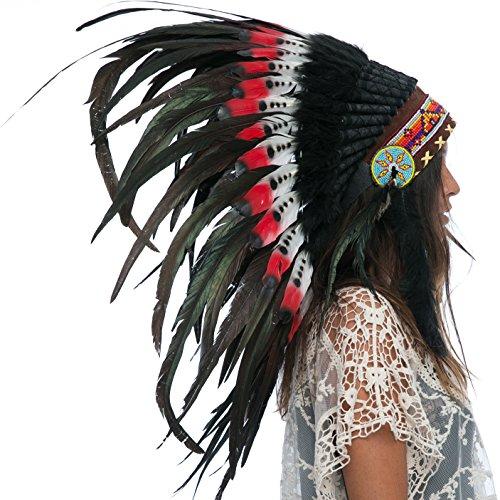 Feather Headdress- Native American Indian Inspired- Handmade Halloween Costume for Men Women with Real Feathers - DOUBLE FEATHER (Aztec Halloween Costume)