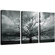 Winter Large Tree Photography Print,abstract Canvas Artwork,stretched and Framed,landscape Canvas Wall Art,each Panel 12x24inch Wall Picture Ready to Hang