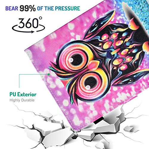 Dteck 6.5-7 Inch Universal Case with [Stylus Pen], Pretty Cute Flip Stand Case PU Leather Protective Pocket Holder Cover for Samsung/Kindle/Huawei/Lenovo/Nook 7.0 Inch Tablet-Lovely Owl