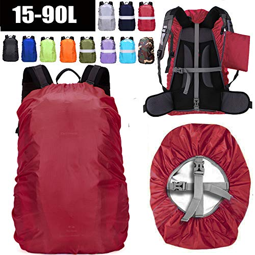 ZM-SPORTS 15-90L Upgraded Waterproof Backpack Rain Cover,with Vertical Adjustable Fixed Strap Avoid to Falling,Gift with Portable Storage Pack (Red, M(for 30-40L Backpack)