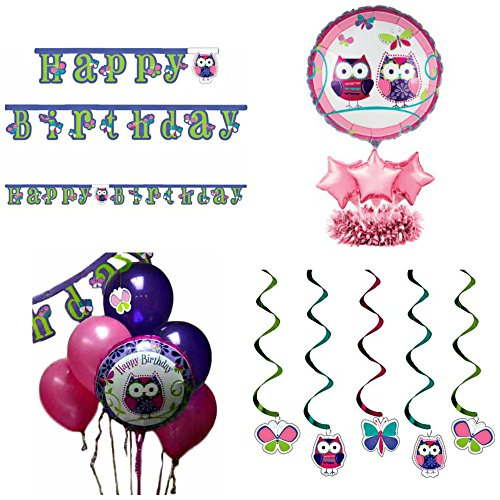 Owl Pal Party Themed Decorations Kit – Banner,