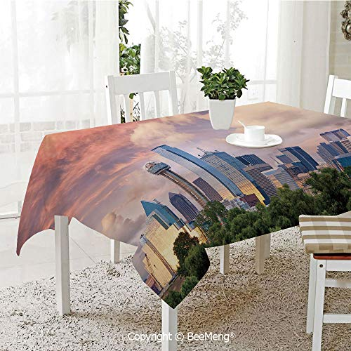 BeeMeng Spring and Easter Dinner Tablecloth,Kitchen Table Decoration,United States,Dallas City Skyline at Sunset Clouds Texas Highrise Skyscrapers Landmark Decorative,Multicolor,59 x 83 inches ()