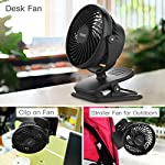 Clip on Fan Battery Operated Fan, USB or 2600mAh Rechargeable Battery Powered Small Desk Fan Whisper Quiet with 4 Speed Swivel 360° Portable Stroller Fan for Baby Stroller Home Office Camping, Black 15 【2018 Newest Upgraded Clip On Desk Fan】Ommani clip on fan optimized the fluid mechanics structure to make enhanced airflow but operate quieter. Sleek design with smoother fringe and more stable head that won't get loose easily, really a neat personal fan makes you cool. 【4 Speeds, Powerful Motor, Whisper Quiet】Preferably 4 speeds from breeze to strong wind for all your needs. Powerful brushless & rust-less copper-core motor makes strong wind up to 80ft/s like sticking your head out the window when you're on the freeway, while being more durable and quieter, minimal noise low to 30db, won't bother even your baby's sleep. 【USB or 2600mAh Rechargeable Battery Powered】Upgraded with the best quality rechargeable & replaceable battery, last 3 - 8 HOURS depends on the wind speed. It can work and charge at the same time by laptop, power bank or USB charger via the supplied micro USB cord, which saves your money and hassle of buying batteries.
