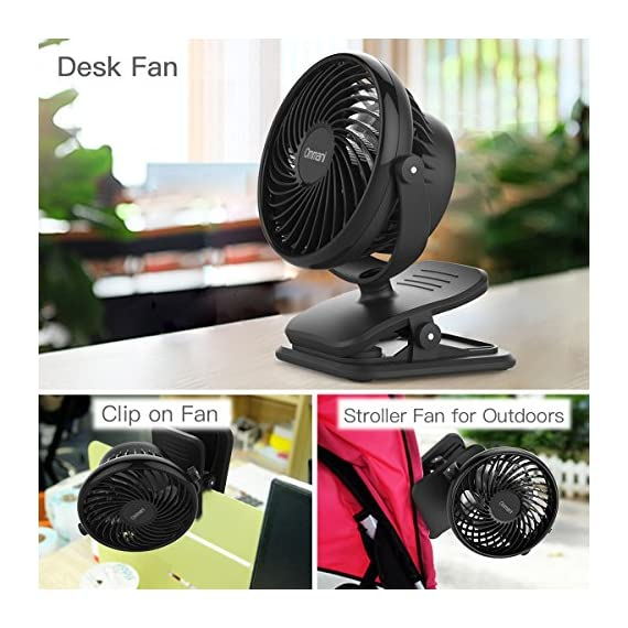 Clip on Fan Battery Operated Fan, USB or 2600mAh Rechargeable Battery Powered Small Desk Fan Whisper Quiet with 4 Speed Swivel 360° Portable Stroller Fan for Baby Stroller Home Office Camping, Black 6 【2018 Newest Upgraded Clip On Desk Fan】Ommani clip on fan optimized the fluid mechanics structure to make enhanced airflow but operate quieter. Sleek design with smoother fringe and more stable head that won't get loose easily, really a neat personal fan makes you cool. 【4 Speeds, Powerful Motor, Whisper Quiet】Preferably 4 speeds from breeze to strong wind for all your needs. Powerful brushless & rust-less copper-core motor makes strong wind up to 80ft/s like sticking your head out the window when you're on the freeway, while being more durable and quieter, minimal noise low to 30db, won't bother even your baby's sleep. 【USB or 2600mAh Rechargeable Battery Powered】Upgraded with the best quality rechargeable & replaceable battery, last 3 - 8 HOURS depends on the wind speed. It can work and charge at the same time by laptop, power bank or USB charger via the supplied micro USB cord, which saves your money and hassle of buying batteries.