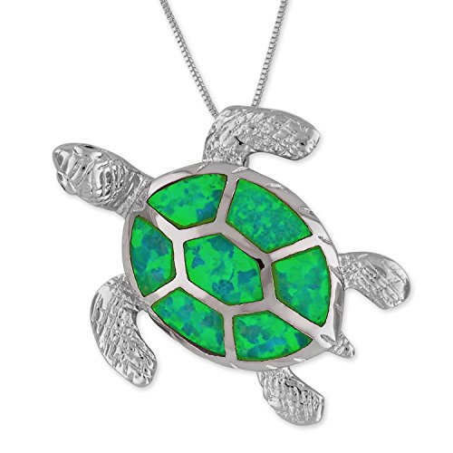 Green Opal Pendant - Sterling Silver Synthetic Green Opal Turtle Pendant Necklace, 16+2