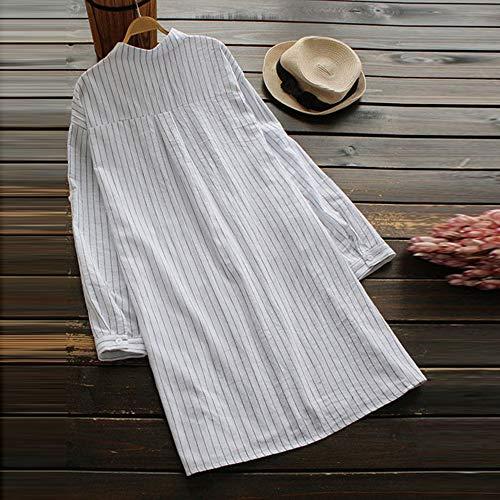 Fashion Ceinture Courte Chemisier Manches Top Chemise Loose Automne Chic millenniums Blouse lgantes Casual Floral Robe Tops Longues Blanc Ray Bouton 0qEnUW1n
