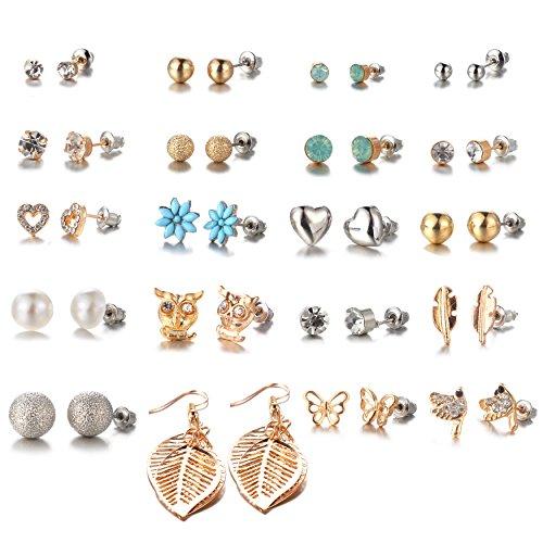 20 Pairs Women's Girl's Stainless Steel Assorted Multiple Stud Earrings Set, Hypoallergenic by Bevan