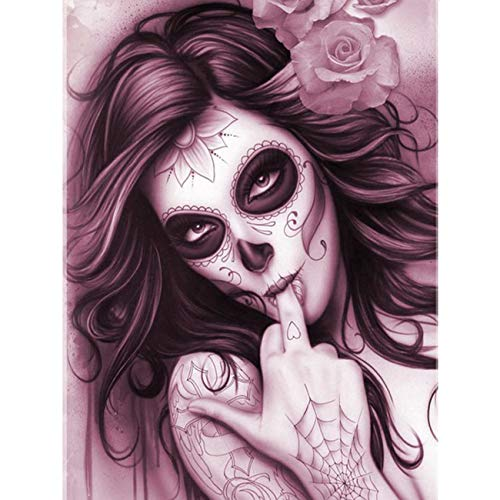 5D DIY Diamond Painting Devil Makeup Goth Woman Full Drill for Kids Adults by Number Kits, Craft Decor by Leyzan, Paint with Diamonds Embroidery Set DIY Craft Arts Decorations (12x16inch)