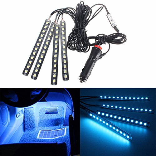 Car Interior Lights, GLIME 4-Piece 12 LED Car Atmosphere Light,Interior Underdash Lighting Kit ,Car Auto Floor Lights,Waterproof Glow Neon Light Strips Decoration Lamp for All Vehicles Ice - Parts Cars
