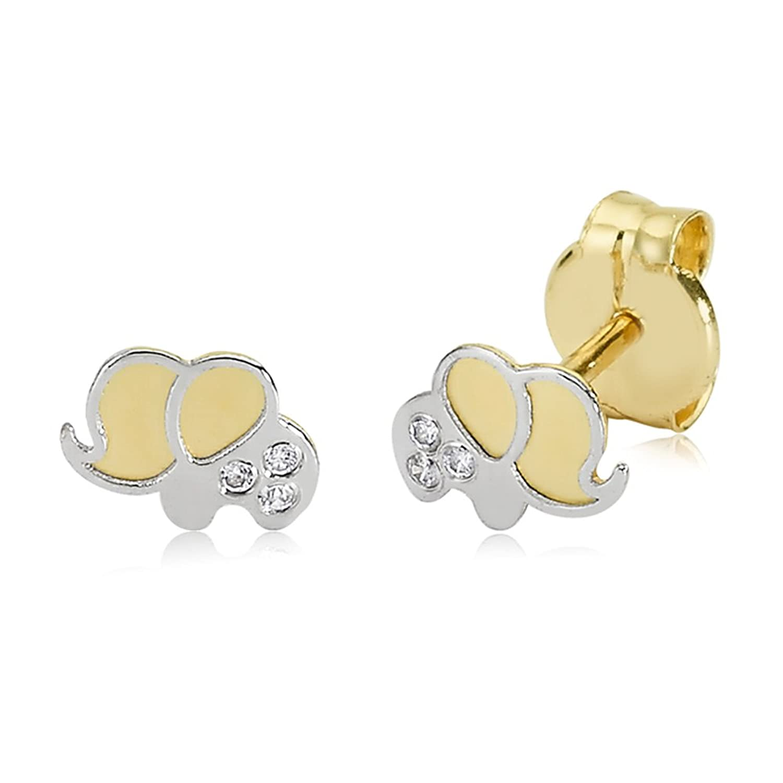 Niños Pendientes Oro de 375oro amarillo 9quilates oro blanco niños pendientes elefante Elephant Childs Girls Niños joyas