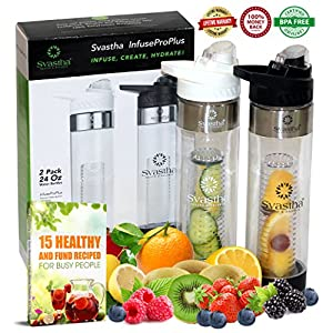 Water Bottle with Fruit Infuser, Bonus 2For1 :: Bottom Infusers :: Flip-Top Lids :: Strong Lightweight Tritan Plastic :: Portable Slim Design :: BPA Free :: Superior Lifetime Peace-of-Mind (24oz x 2)