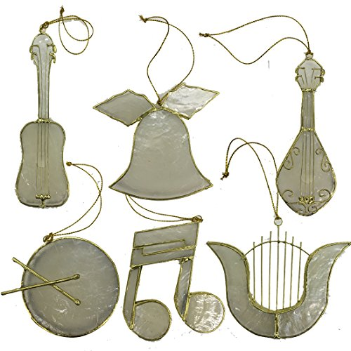 Coastal Beach Christmas Ornaments Decoration, Capiz 6 Piece Music Set 3.5