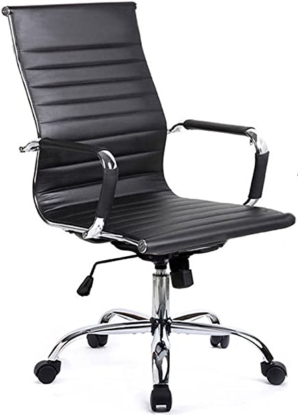 GTP Office Chair Modern Ribbed Swivel Conference Chair Leather Office Chairs  High Back Ergonomic Adjustable Chair
