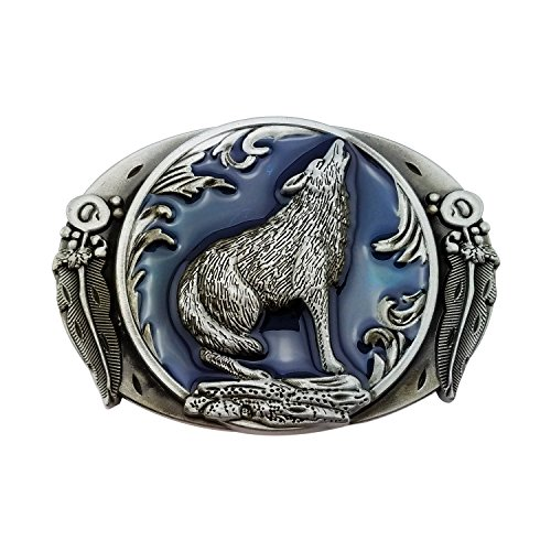 Lanxy Fashion Retro Western Cowboy Wolf Leaf Belt Buckle For Men Blue Enamel Grey ()