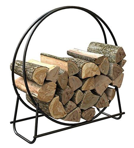 LTL Shop 40-Inch Tubular Steel Log Hoop Firewood Storage Rack Holder Round
