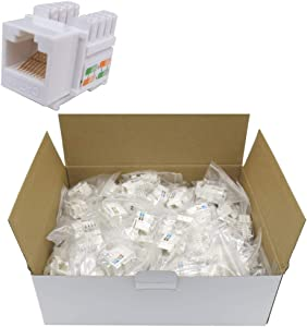 CNAweb Cat5e RJ45 Modular Keystone Jack, 110 Style, White - Box of 100