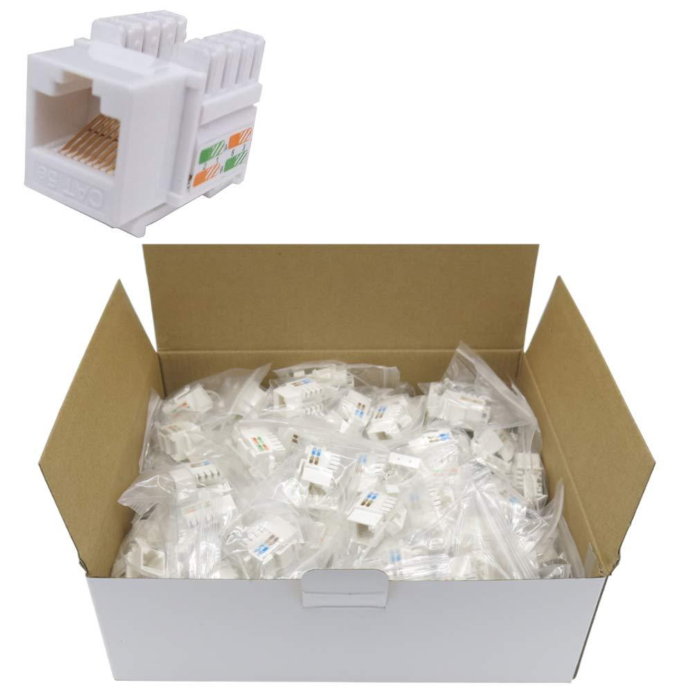CNAweb Cat5e RJ45 Modular Keystone Jack 110 Style White Box of 100