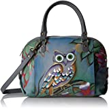 Anuschka Anna Handpainted Leather Zip Top Medium Satchel-Midnight Owl