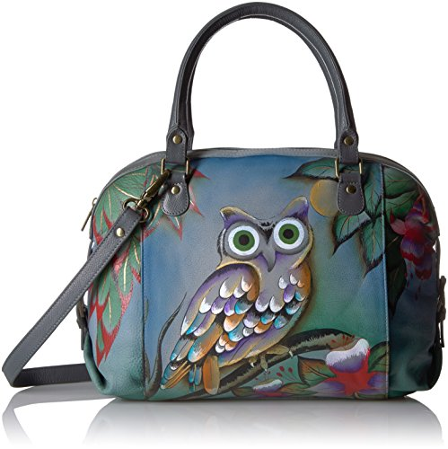 Anuschka Anna Handpainted Leather Zip Top Medium Satchel-Midnight Owl by ANUSCHKA