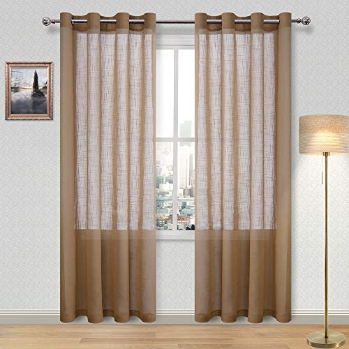 DWCN Brown Sheer Curtains Faux Linen Voile Grommet Top Window Textured Weave Drapes for Living Room Bedroom 52 x 84 Inches Long, Set of 2 (Curtains Sheer Brown)