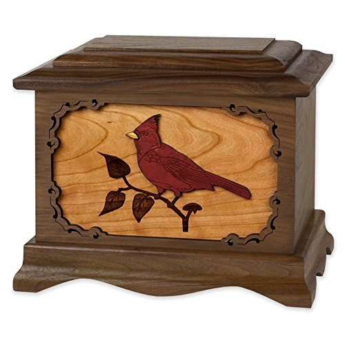 Wooden Cremation Urn - Ambassador Shape with Cardinal Bird 3-Dimensional Inlay Wood Art Memorial - Funeral Urns for Adults (Solid Walnut Wood)