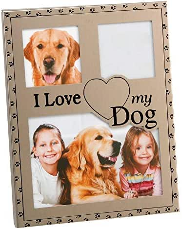 Haysom Interiors Brushed Silver I Love My Dog Collage Picture Frame by Happy Homewares
