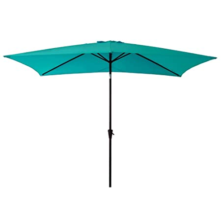 C-Hopetree Rectangle Patio Outdoor Aluminium Market Umbrella 6 6 x 10 with Crank Winder Push Button Tilt Aqua Blue