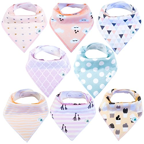 Baby Bandana Drool Bibs 8 Pack for Girls, Hypoallergenic Soft Organic Cotton With Snaps for Teething Drooling, Baby Shower Gift For Girl, Newborn Registry Must Haves - Chic Pink Blush Heart