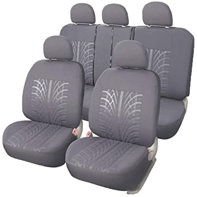 XCAR Universal Cloth Fabric Car Seat Covers Full Set Grey with 5 Detachable Headrests - Embossed Design: Automotive