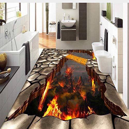 Lifme Custom Flooring Mural Wallpaper Lava Stone Magma 3D Stereoscopic Floor Sticker Painting PVC Self-Adhesive Waterproof Wallpaper-400X280Cm